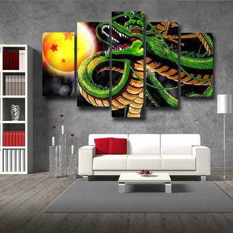 Dragon Shenron Crystal Ball Interior Decor 5pc Canvas Prints Wall Art