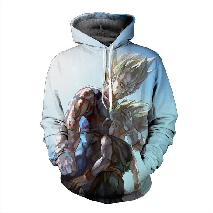 Father and Son Bloody Majin Vegeta Super Saiyan Kid Trunks 3D Hoodie - Saiyan Stuff