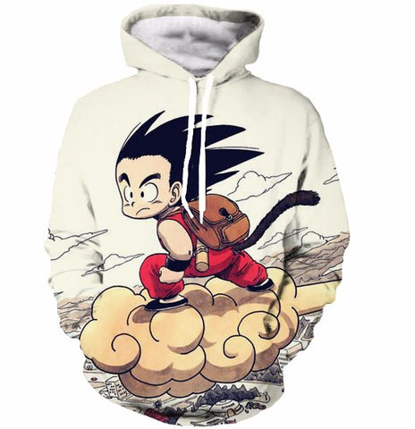 Flying Cute Kid Goku Cloud Nimbus Vintage Beige Hoodie - Saiyan Stuff