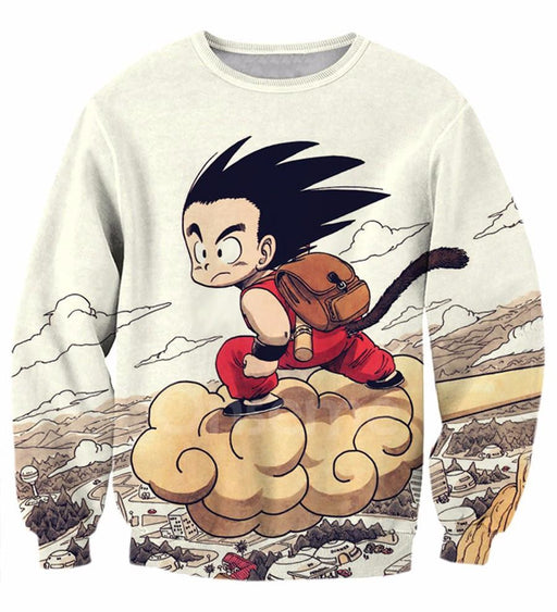Flying Cute Kid Goku Cloud Nimbus Vintage Beige Sweatshirt - Saiyan Stuff