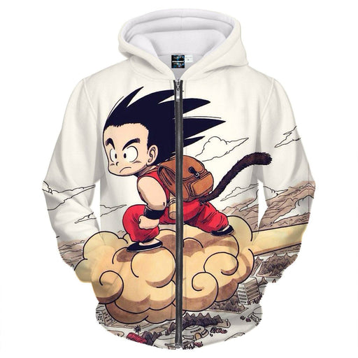 Flying Cute Kid Goku Cloud Nimbus Vintage Beige Zipper Hoodie