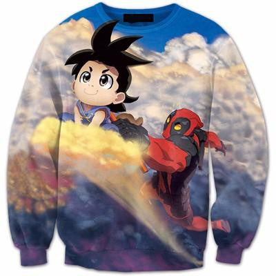 Flying Nimbus Cloud Kid Goku and Deadpool Funny 3D Sweatshirt - Saiyan Stuff
