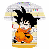Funny Candy Cute Jumping Young Kid Goku Letters Classic T- Shirt - Saiyan Stuff - 1
