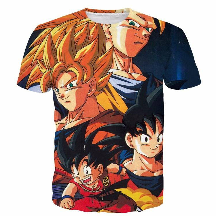 Goku Evolution from Kid to SSJ3 Transformation Dopest 3D T- Shirt - Saiyan Stuff - 1