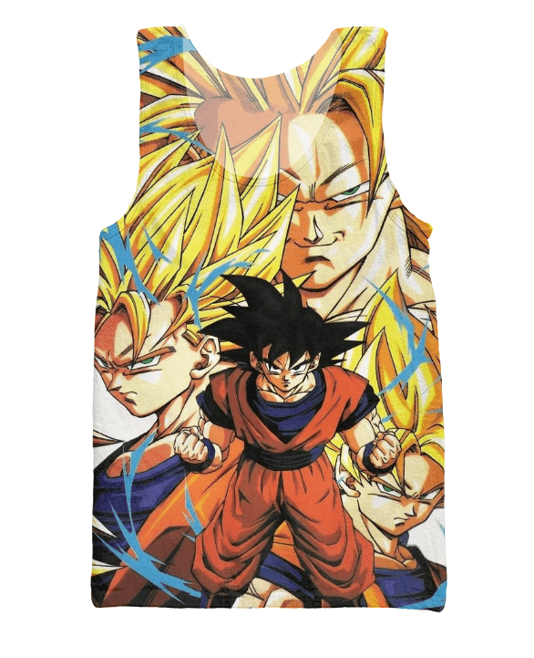 Goku Forms Super Saiyan Transformation 3D Tank Top - Saiyan Stuff