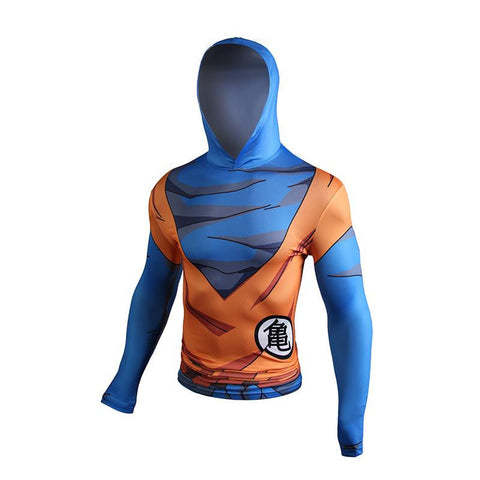 Goku Orange Costume Kame Kanji Compression Hooded Long Sleeves 3D Shirt