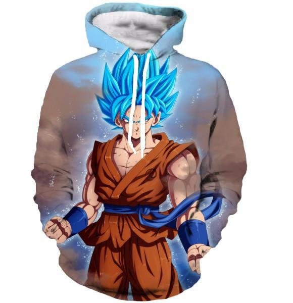 Goku Super Saiyan Blue God SSGSS Dragon Ball Pocket Hoodie - Saiyan Stuff