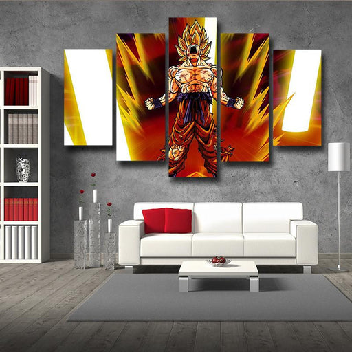 Goku Super Saiyan Power Up Aura Angry Posters 5pc Canvas Prints Wall Decor