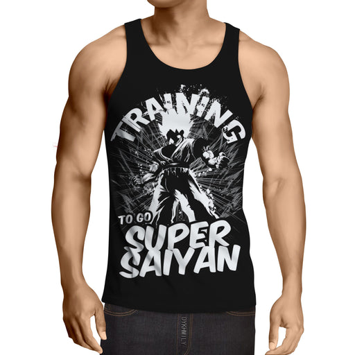 Goku Training Super Saiyan Dragon Ball Theme Design Tank Top