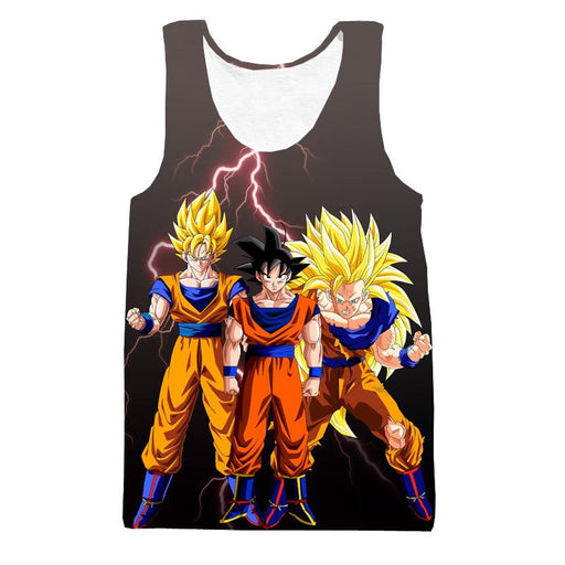 Goku Transformation Thunder Black Super Saiyan Full Print Tank Top - Saiyan Stuff