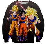 Goku Transformation Thunder Black Super Saiyan Sweatshirt - Saiyan Stuff