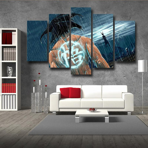Goku Under the Rain Painting Go Kanji Symbol 5pc Canvas Prints Wall Art