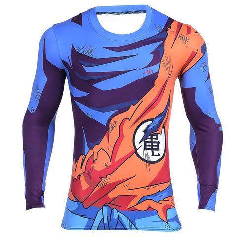 Goku Uniform Outfit Battle Damaged Workout Long Sleeves T-shirt