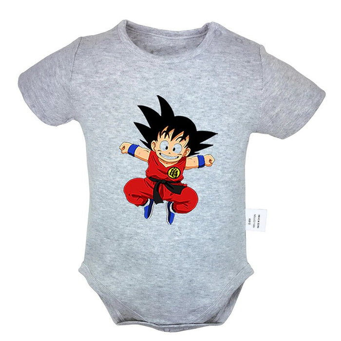 DBZ Short Sleeve Jumping Smiling Face Kid Goku Baby Onesie