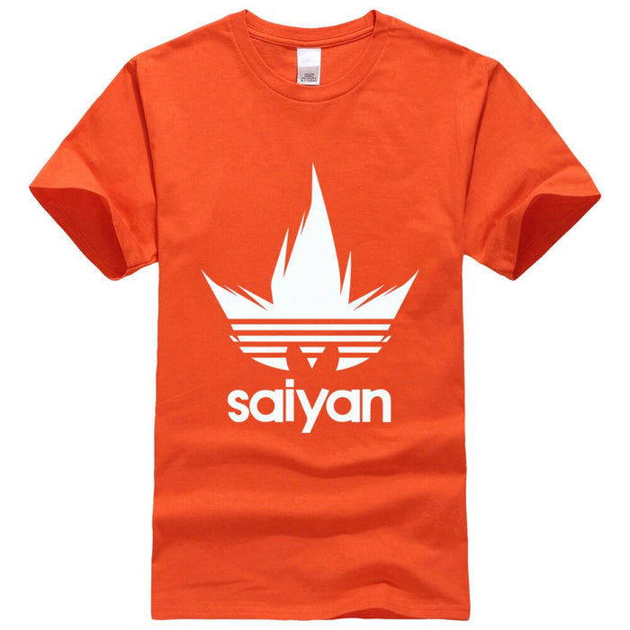Dragon Ball Z White Saiyan Adidas Parody Print Orange Shirt