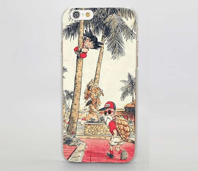 Palm Tree Cute Kid Goku Master Roshi Vintage Beige iPhone 4 5 6 7 8 Plus X Case
