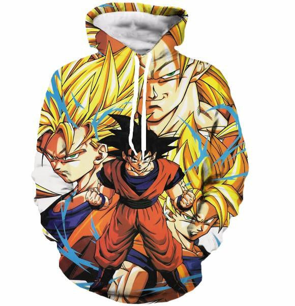 Kakarot Son Goku Forms Super Saiyan Transformation 3D Hoodie - Saiyan Stuff