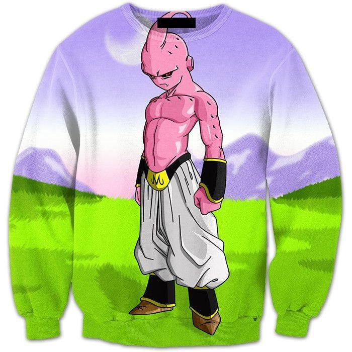 Kid Buu Dragon Ball Super Villain Green Cool 3D Crewneck Sweatshirt - Saiyan Stuff