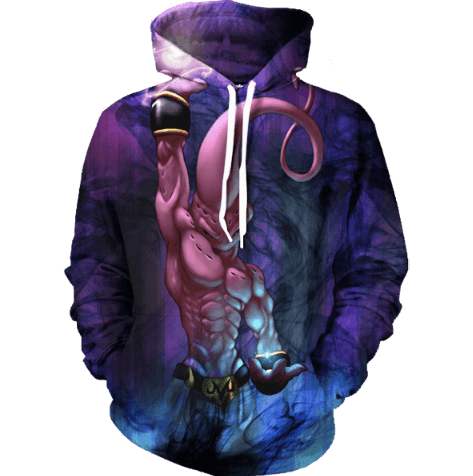 Kid Buu Spirit Ball Destruction Dark Powerful 3D Pocket Hoodie - Saiyan Stuff