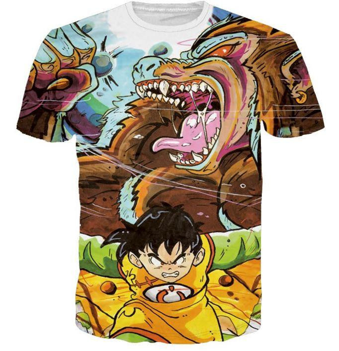 Kid Gohan Inner Power Great Ape Form 3D Graffiti T-shirt - Saiyan Stuff