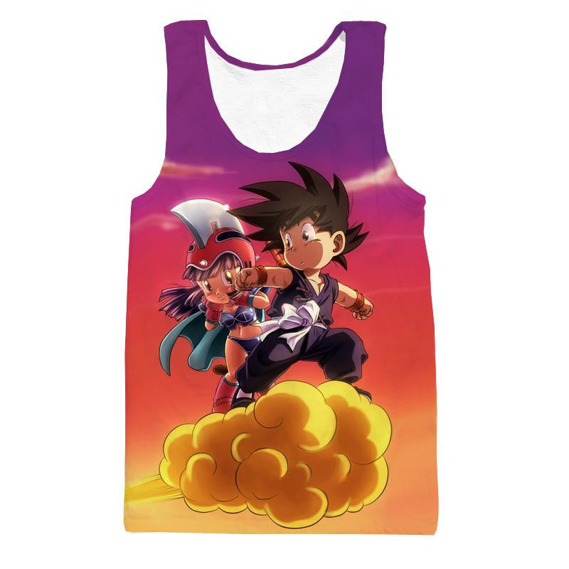 Kid Goku & Chichi Flying on Golden Cloud 3D Tank Top - Saiyan Stuff - 1