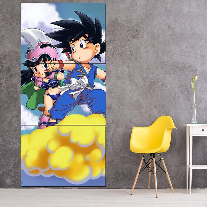 Kid Goku & Chichi Flying on Golden Cloud 3Pc Canvas Print