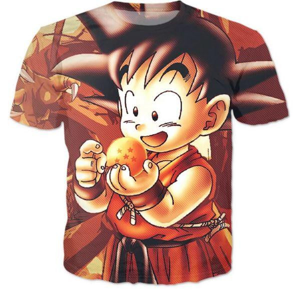 Kid Goku Dragon Ball 7 Stars Cute 3D Print T-Shirt - Saiyan Stuff