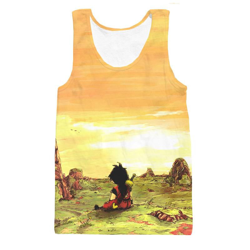 Kid Young Gohan Break Wasteland Landscape Beautiful Tank Top - Saiyan Stuff - 1