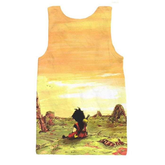 Kid Young Gohan Break Wasteland Landscape Beautiful Tank Top - Saiyan Stuff