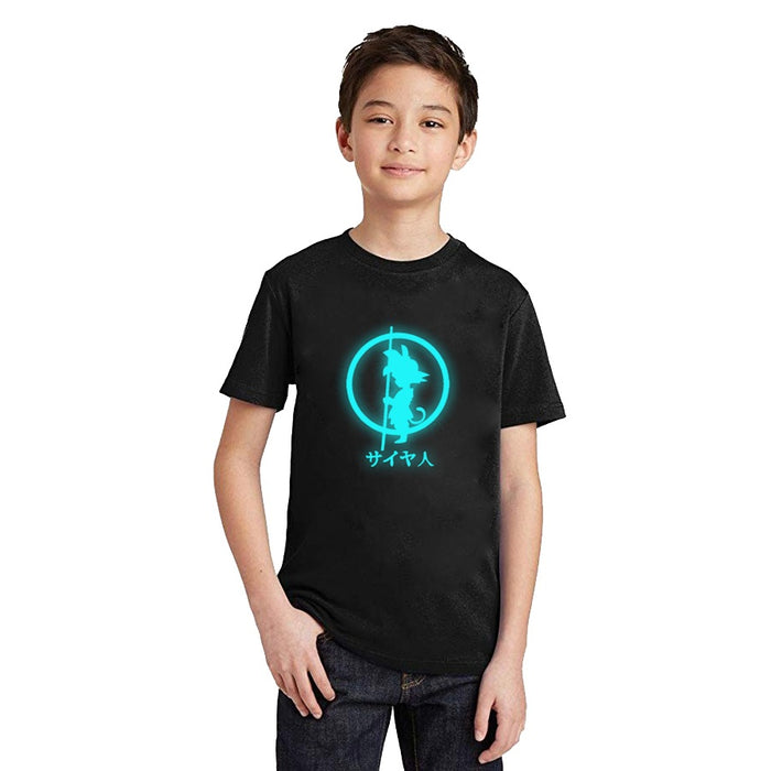DBZ Shadow Kid Goku Shadow Glow In The Dark Kids T-Shirt