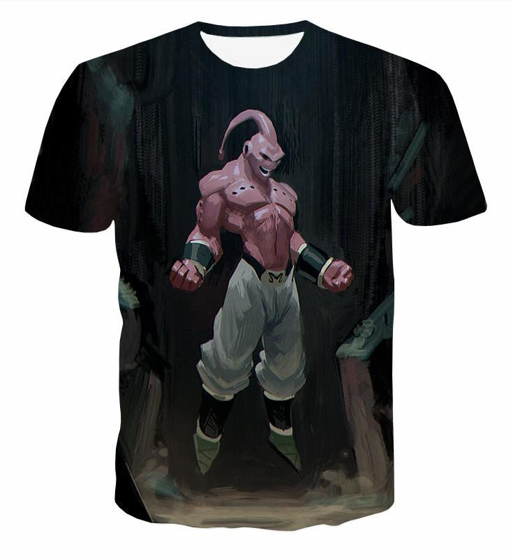 Majin Buu Pure Evil Black Painting Graffiti Art 3D T-Shirt - Saiyan Stuff - 1