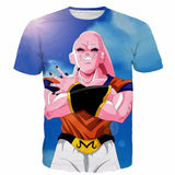 Majin Buu Wearing Goku Clothes Blue 3D Fashion T- Shirt - Saiyan Stuff