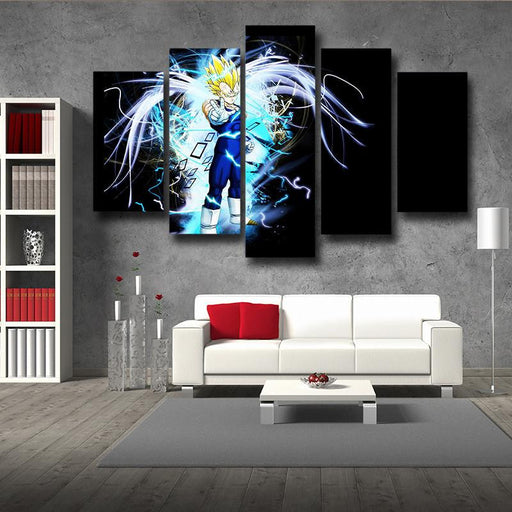 Majin Vegeta Saiyan Prince Blue Aura Decor 5pc Canvas Prints Wall Art