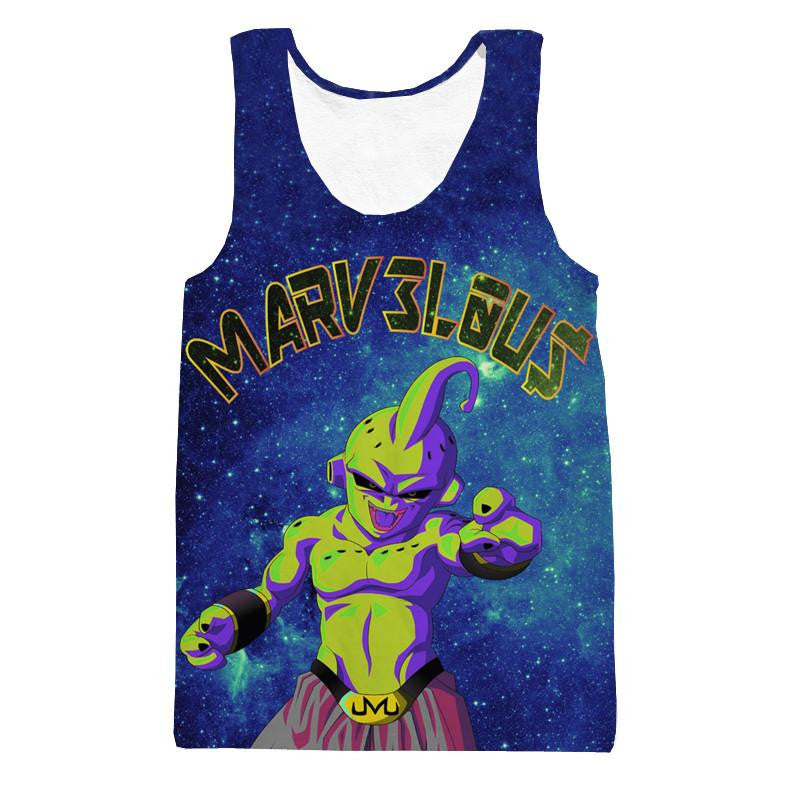 Marvelous Majin Kid Buu Galaxy Mind-blowing 3D Blue Tank Top - Saiyan Stuff