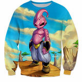 New Dragonball Kid Buu Colorful Pink Blue 3D Sweatshirt - Saiyan Stuff - 1