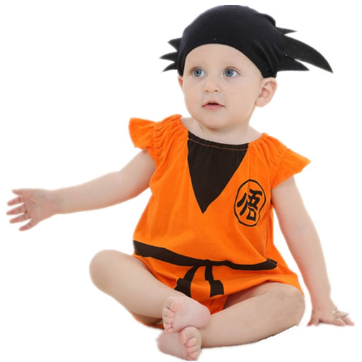 Short Sleeve Cosplay Orange Baby Onesie With Cute Hair Hat