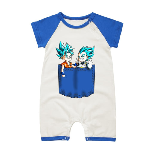 Dragon Ball Z Goku & Vegeta Blue Short Sleeve Baby Romper