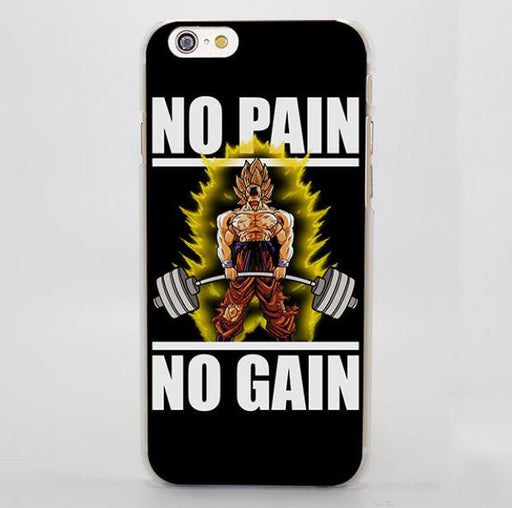 No Pain No Gain Super Saiyan Goku Hard iPhone 4 5 6 7 Plus Case