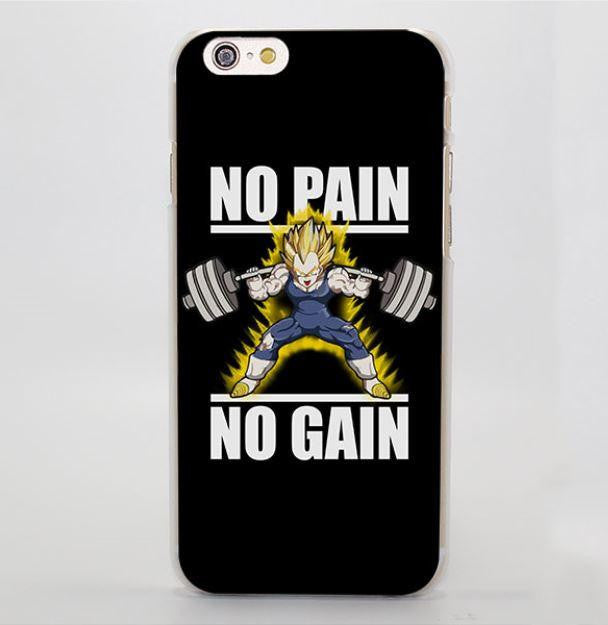 No Pain No Gain Super Saiyan Vegeta Hard iPhone 4 5 6 7 Plus Case