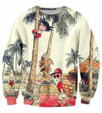 Palm Tree Cute Kid Goku Master Roshi Vintage Beige Sweater - Saiyan Stuff - 1