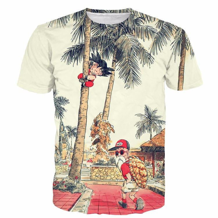 Palm Tree Cute Kid Goku Master Roshi Vintage Beige T- Shirt - Saiyan Stuff - 1