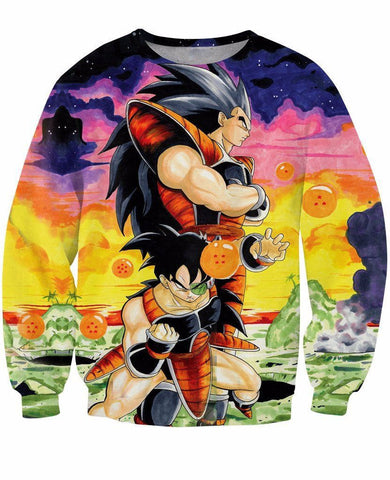 Raditz and Space Pirate Turles Saiyan Warriors Artwear 3D Sweatshirt - Saiyan Stuff