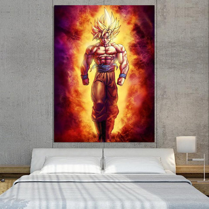 SSJ2 Son Goku Super Saiyan 2 Flame Fire 1PC Canvas Prints