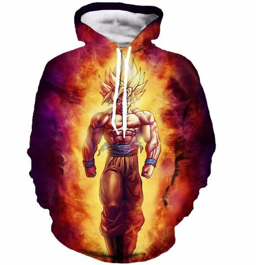 SSJ2 Son Goku Super Saiyan 2 Flame Fire 3D Cool Hoodie - Saiyan Stuff