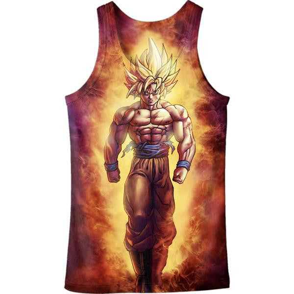 SSJ2 Son Goku Super Saiyan 2 Flame Fire 3D Tank Top - Saiyan Stuff