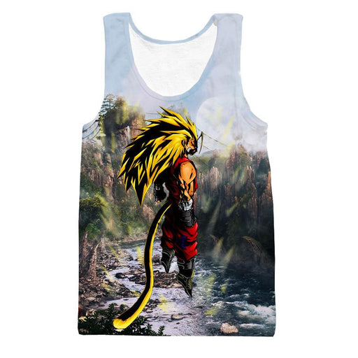 SSJ3 Goku Super Saiyan 3 River Mountain Graphic Tank Top - Saiyan Stuff