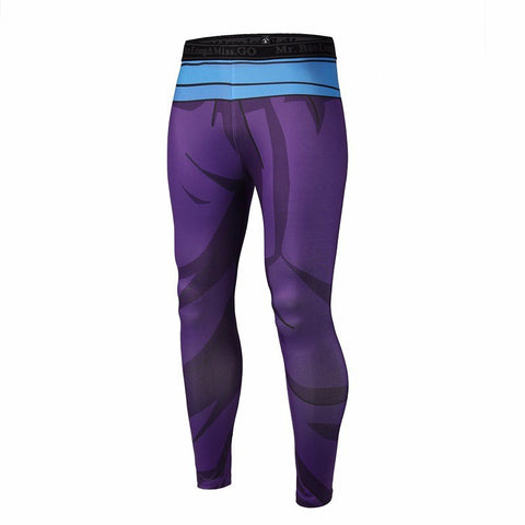 Son Gohan Purple Black Waist Fitness Gym Compression Leggings Tights - Saiyan Stuff - 1