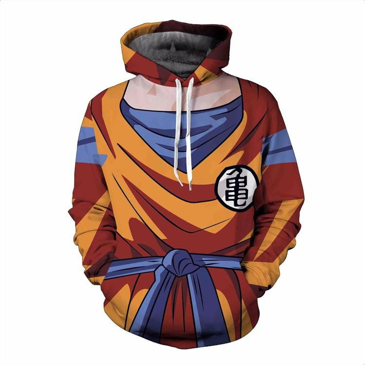 Son Goku Costume Outfit Orange Cosplay 3D Pocket Hoodie - Saiyan Stuff