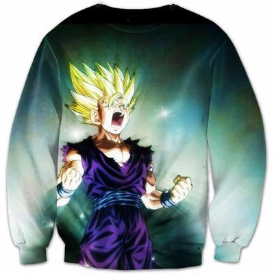 Super Saiyan 2 SSJ2 Teen Son Gohan 3D HD Green Dope Sweatshirt - Saiyan Stuff