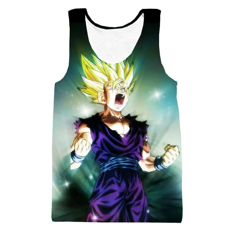 Super Saiyan 2 SSJ2 Teen Son Gohan 3D HD Tank Top - Saiyan Stuff